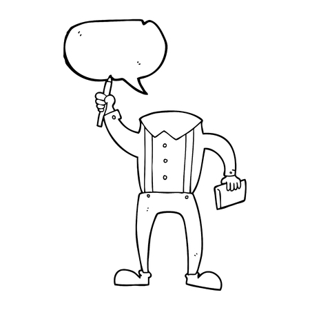 bubble pen: freehand drawn speech bubble cartoon headless body with notepad and pen (add own photos) Illustration