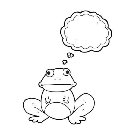 thought balloon: freehand drawn thought bubble cartoon frog Illustration