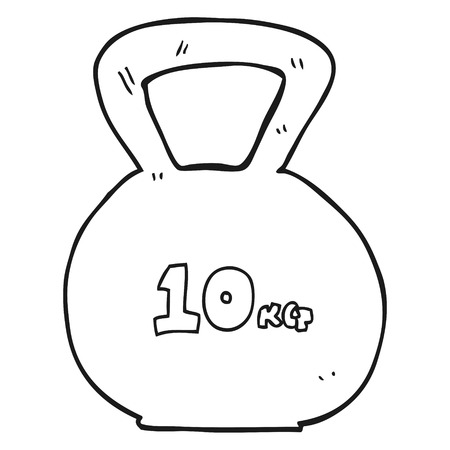 kettle bell: freehand drawn black and white cartoon 10kg kettle bell weight