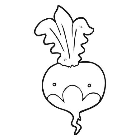 beet: freehand drawn black and white cartoon beet