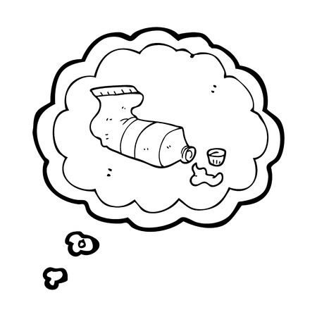 squeezed: freehand drawn thought bubble cartoon squeezed tube of toothpaste