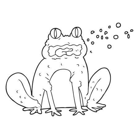 burping: freehand drawn black and white cartoon burping frog