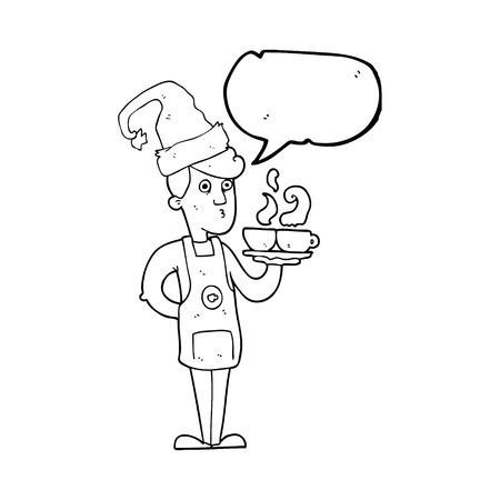 barista: freehand drawn speech bubble cartoon barista serving coffee at christmas Illustration