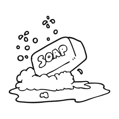 freehand drawn black and white cartoon bar of soap