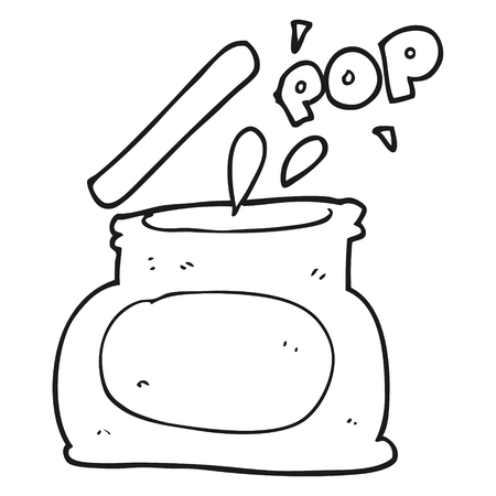 popping: freehand drawn black and white cartoon popping jar Illustration