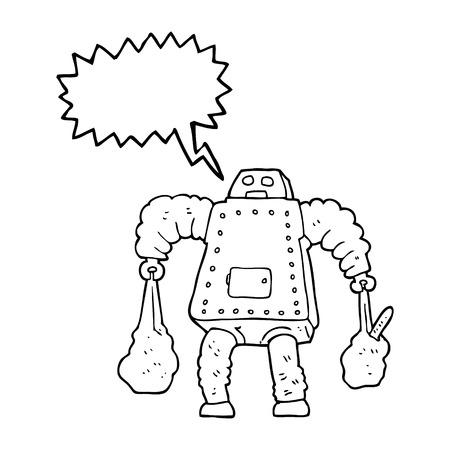 talking robot: freehand drawn speech bubble cartoon robot carrying shopping