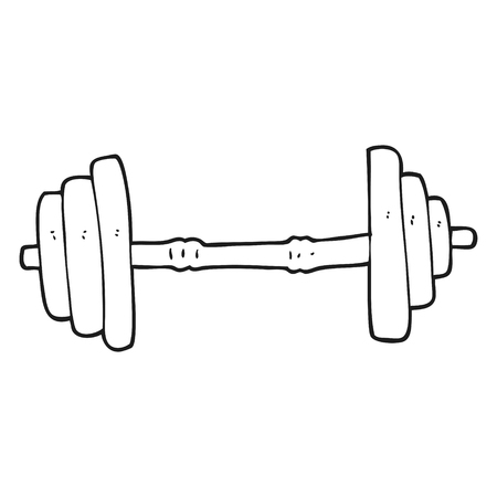 freehand drawn black and white cartoon barbell Stok Fotoğraf - 53214349