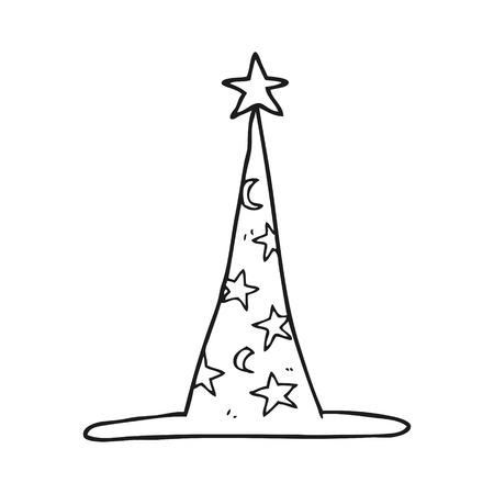 sombrero de mago: dibujado a mano alzada sombrero de mago de dibujos animados en blanco y negro