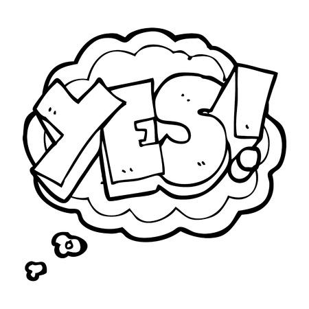 Freehand Drawn Thought Bubble Cartoon Yes Symbol Royalty Free