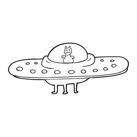 flying saucer: freehand drawn black and white cartoon flying saucer