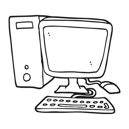 Ratón De La Computadora De Dibujos Animados Blanco Y Negro
