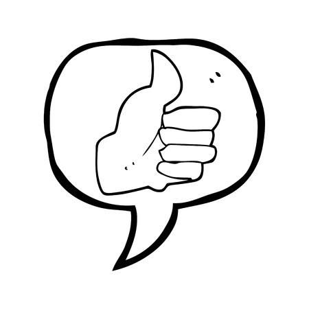 thumbs up symbol: freehand drawn speech bubble cartoon thumbs up symbol