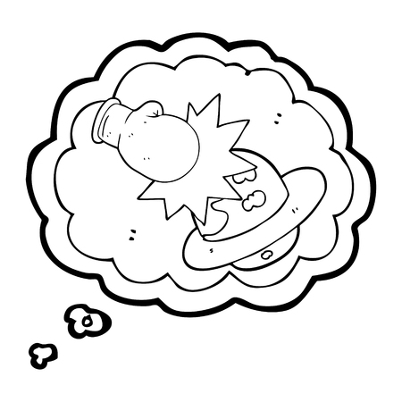 punch: freehand drawn thought bubble cartoon planet taking a punch