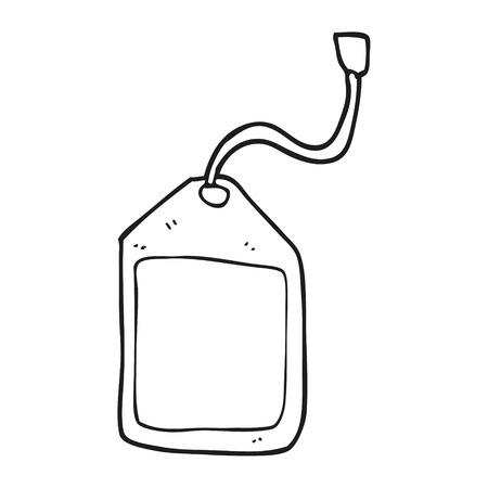 luggage tag: freehand drawn black and white cartoon luggage tag