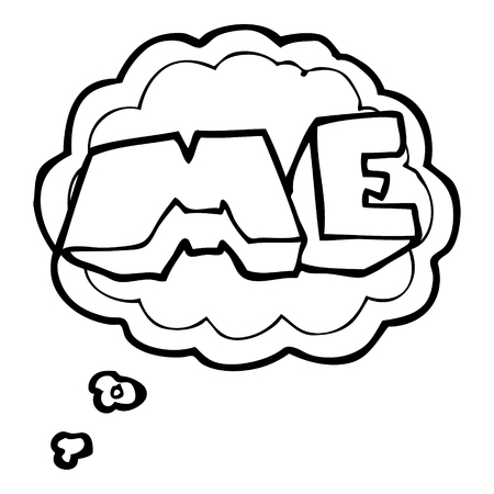 freehand drawn thought bubble cartoon ME symbol Illustration