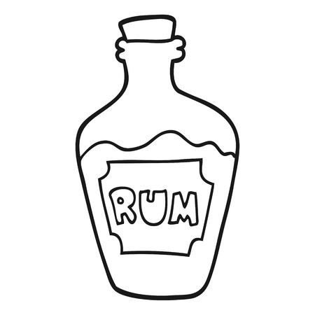 rum: freehand drawn black and white cartoon rum bottle Illustration