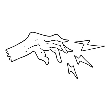 casting: freehand drawn black and white cartoon hand casting spell Illustration
