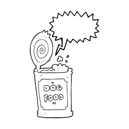 tinned: freehand drawn speech bubble cartoon dog food