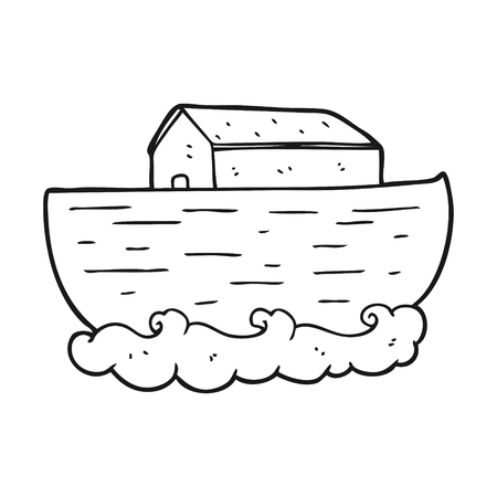 noahs: freehand drawn black and white cartoon noahs ark