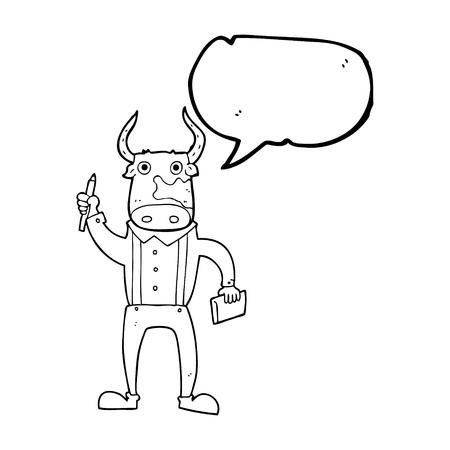 bull pen: freehand drawn speech bubble cartoon bull man
