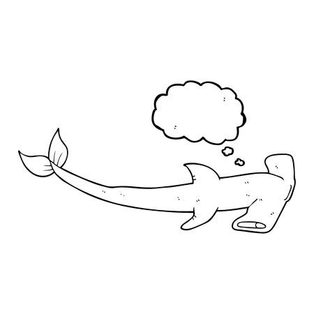 pez martillo: a mano alzada pensamiento dibujado martillo burbuja de dibujos animados de tibur�n Vectores