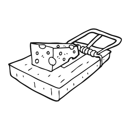 mouse trap: freehand drawn black and white cartoon mouse trap