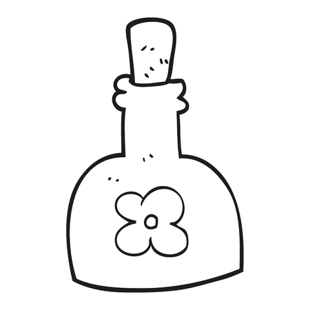 beauty product: freehand drawn black and white cartoon beauty product