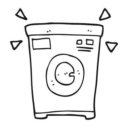 cartoon washing: freehand drawn black and white cartoon washing machine Illustration
