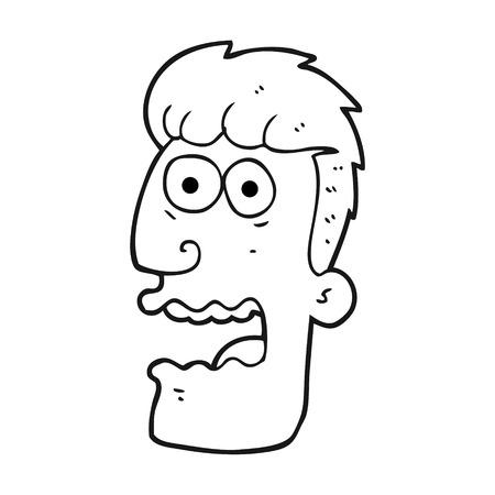 freehand drawn black and white cartoon shocked man