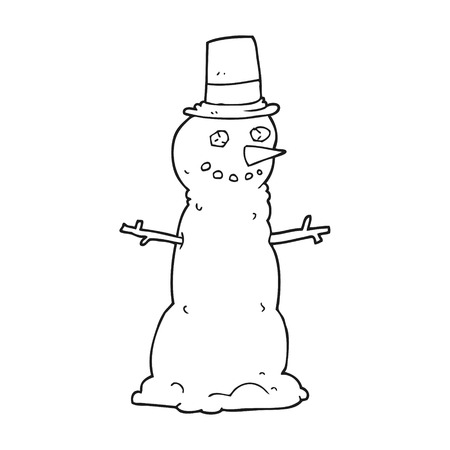top black hat: freehand drawn black and white cartoon snowman in top hat