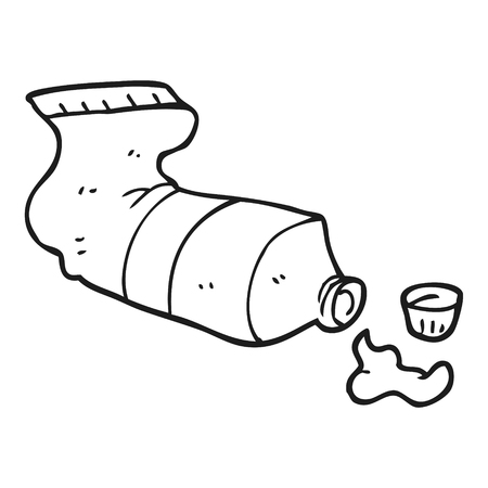 squeezed: freehand drawn black and white cartoon squeezed tube of toothpaste