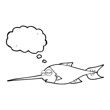 pez espada: a mano alzada pensamiento dibujado el pez espada burbuja de dibujos animados