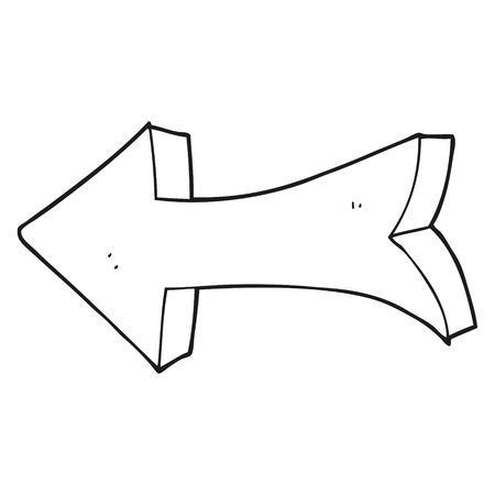flechas direccion: dibujado a mano alzada de dibujos animados en blanco y negro flecha que apunta