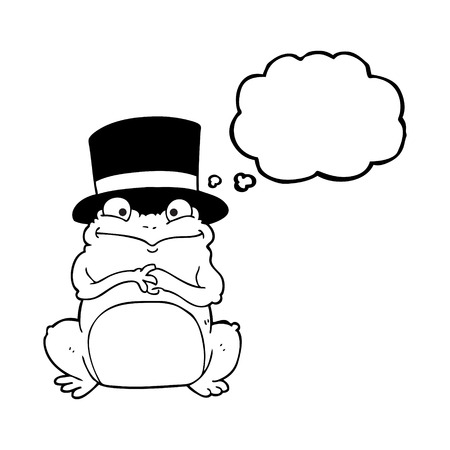 scheming: freehand drawn thought bubble cartoon frog in top hat