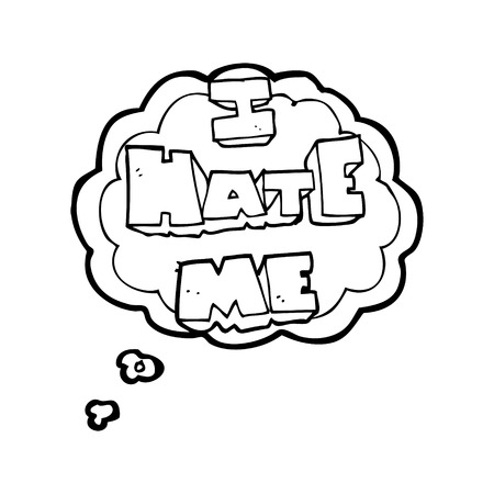 free me: I hate me freehand drawn thought bubble cartoon symbol