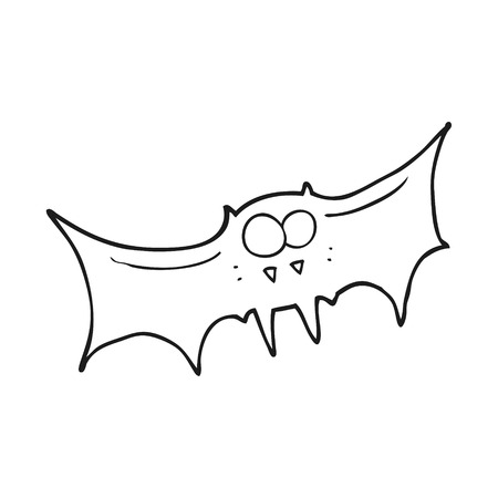 vampire bat: freehand drawn black and white cartoon vampire bat Illustration