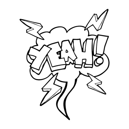 yeah: Yeah! freehand drawn speech bubble cartoon symbol Illustration
