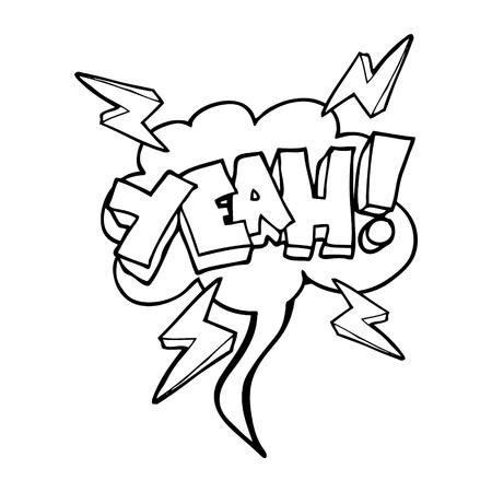 yeah: Yeah! freehand drawn speech bubble cartoon symbol Illustration