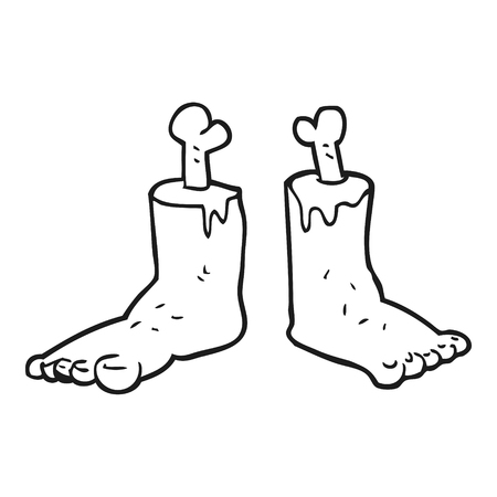 severed: freehand drawn black and white cartoon gross severed feet