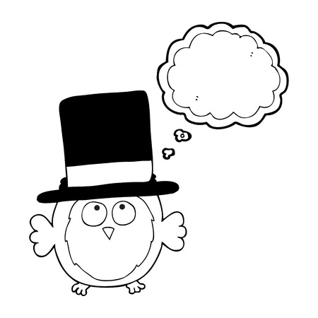 top hat cartoon: freehand drawn thought bubble cartoon owl wearing top hat
