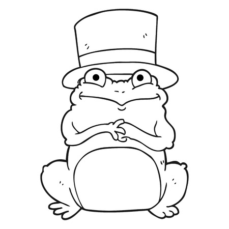 top hat cartoon: freehand drawn black and white cartoon frog in top hat