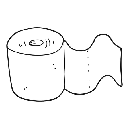 toilet roll: freehand drawn black and white cartoon toilet roll
