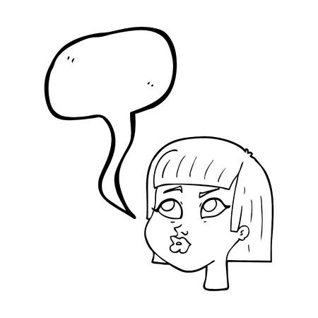 eyebrow raised: freehand drawn speech bubble cartoon female face