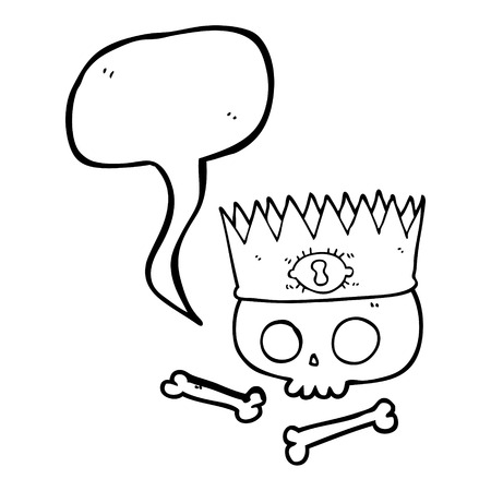 skull with crown: freehand drawn speech bubble cartoon magic crown on old skull
