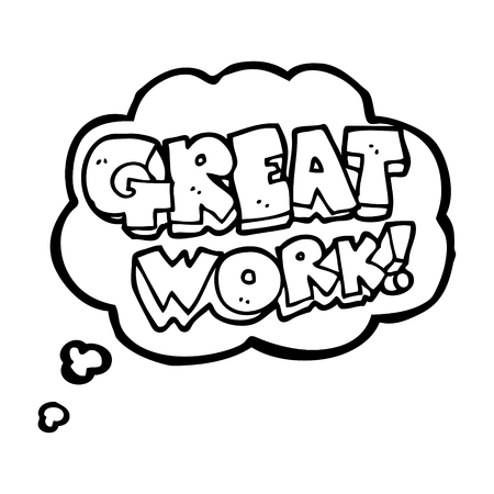 Great Work Freehand Drawn Thought Bubble Cartoon Symbol Royalty Free