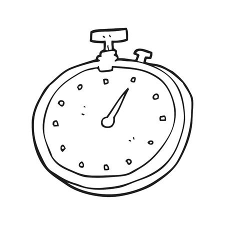 freehand drawn black and white cartoon stopwatch Stock Vector - 53215274