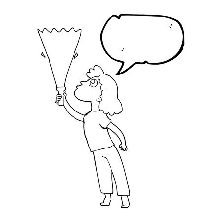 woman searching: freehand drawn speech bubble cartoon woman searching with torch