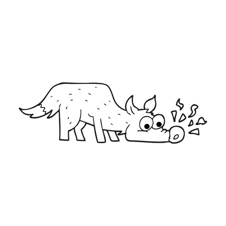 sniffing: freehand drawn black and white cartoon dog sniffing