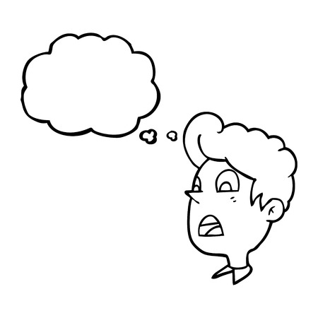 shocked man: freehand drawn thought bubble cartoon shocked man Illustration