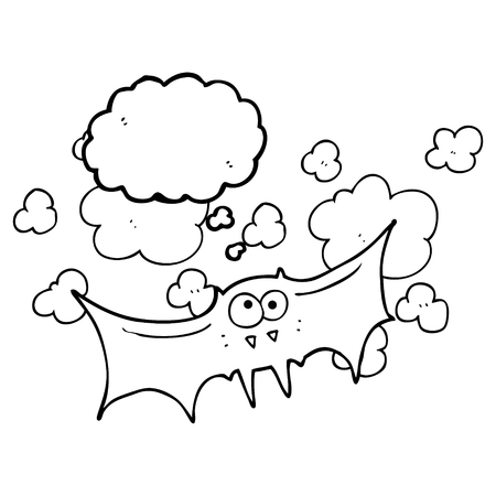 vampire bat: freehand drawn thought bubble cartoon vampire bat